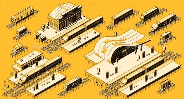 Train Station with Locomotive Isometric Vector Set - Industries Business