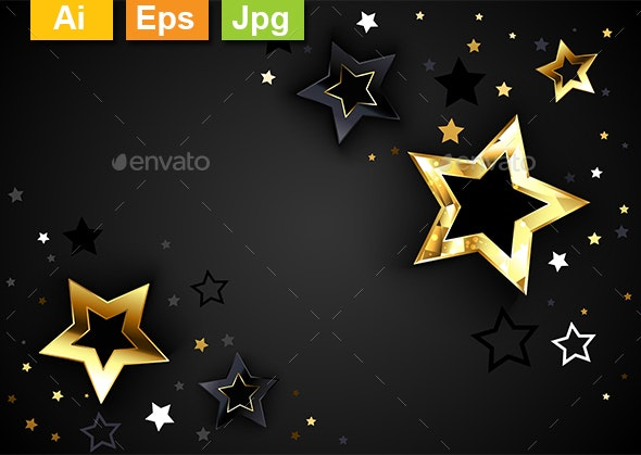 Gray Background with Black Stars - Backgrounds Decorative
