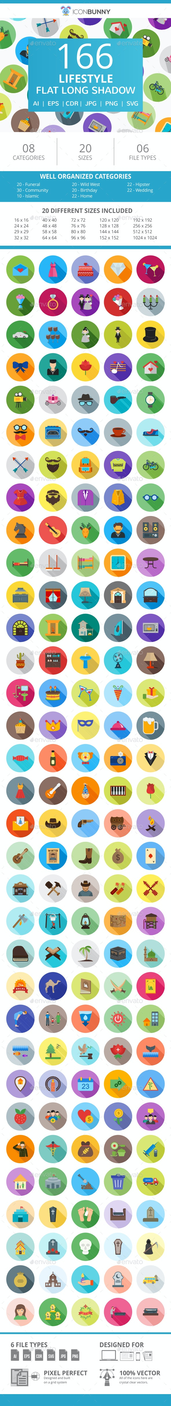 166 Lifestyle Flat Long Shadow Icons - Icons