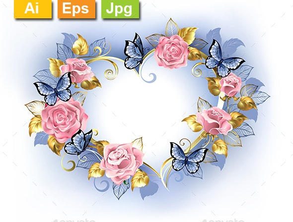 Heart with Pink Roses - Borders Decorative