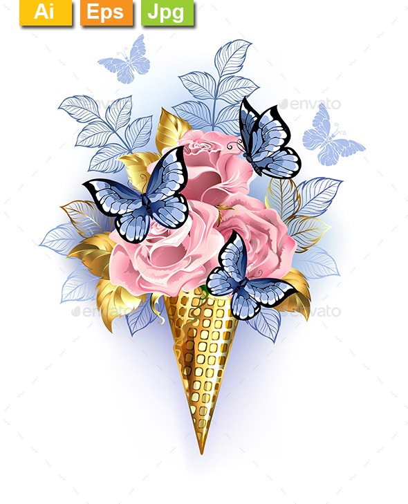 Waffle Cone with Pink Roses - Flowers & Plants Nature