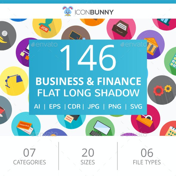 146 Business & Finance Flat Long Shadow Icons