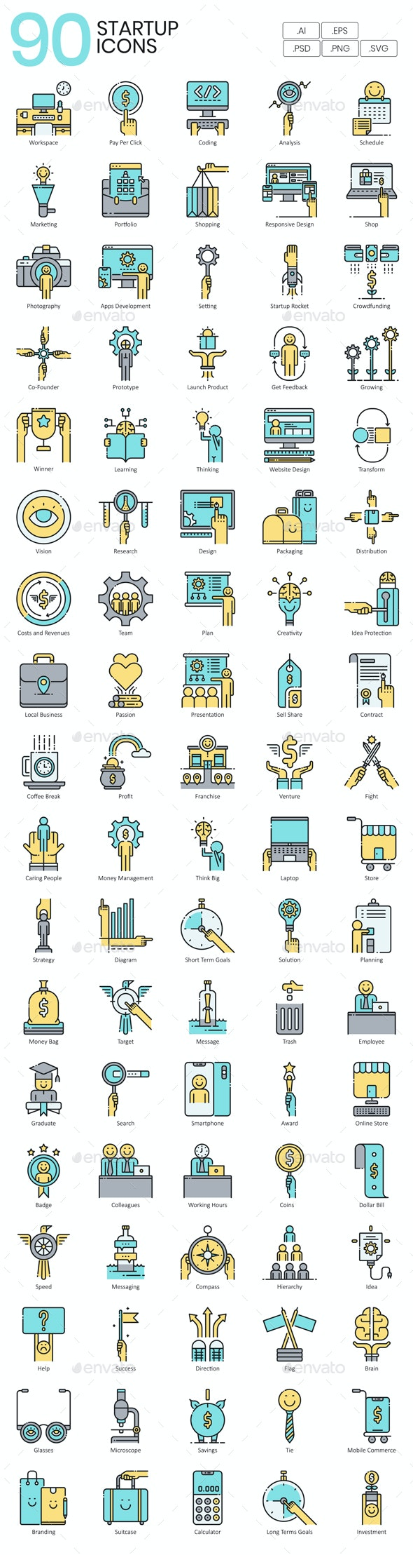 Business Startup Icons - Aqua - Business Icons