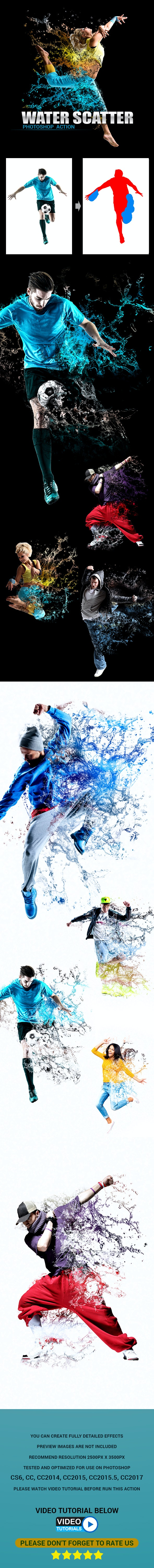 Water Scatter Photoshop Action - Photo Effects Actions