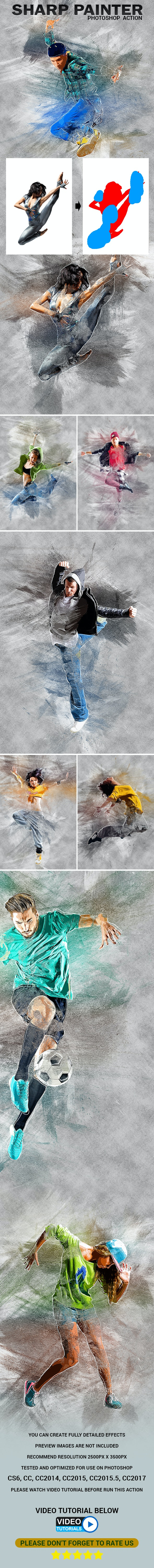Sharp Painter Photoshop Action - Photo Effects Actions