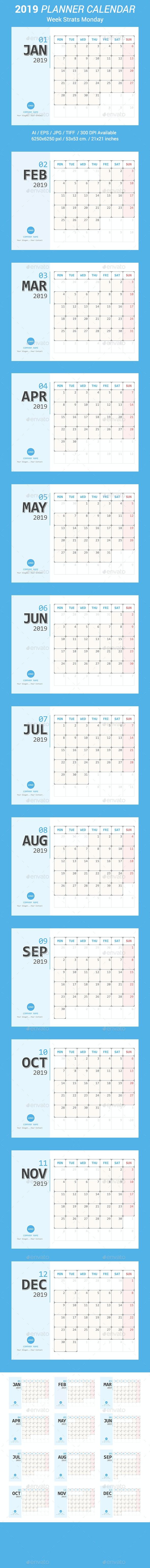 Calendar 2019 Planner Design. Week Starts Monday. - Calendars Stationery
