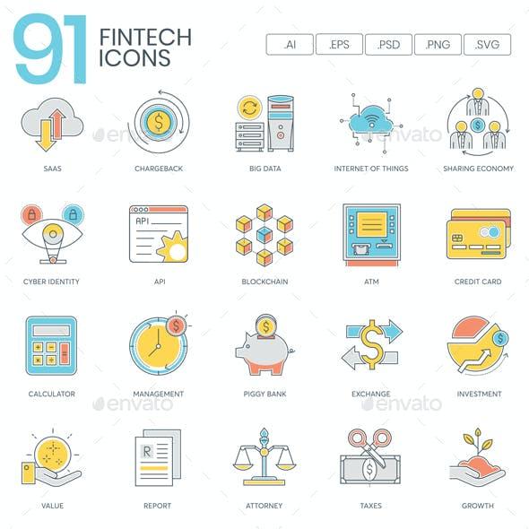 Fintech Icons - Color Line
