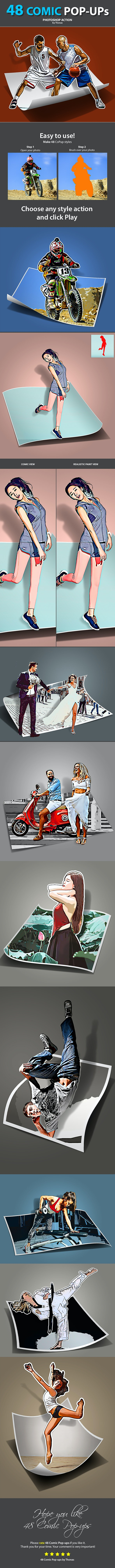 48 Comic Pop-ups - Photo Effects Actions