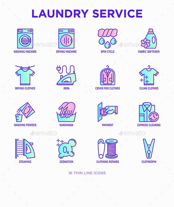 Laundry Service | 16 Thin Line Icons Set - Business Icons