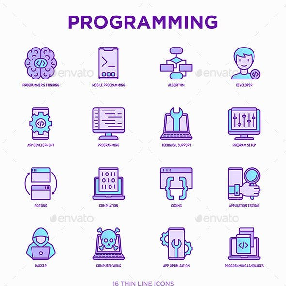 Programming | 16 Thin Line Icons Set