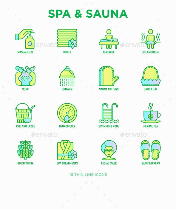 Spa and Sauna | 16 Thin Line Icons Set - Business Icons