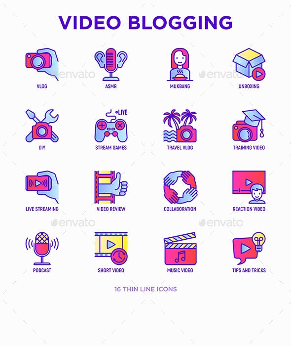 Video Blogging | 16 Thin Line Icons Set