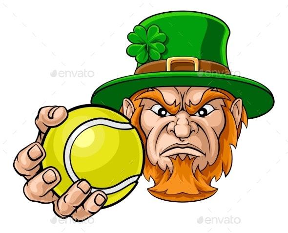 Leprechaun Holding Tennis Ball Sports Mascot - Sports/Activity Conceptual