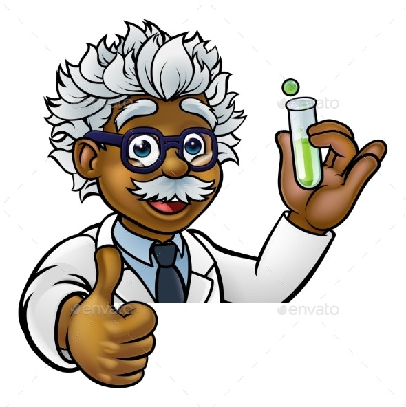 Cartoon Scientist Holding Test Tube Thumbs Up - Miscellaneous Vectors