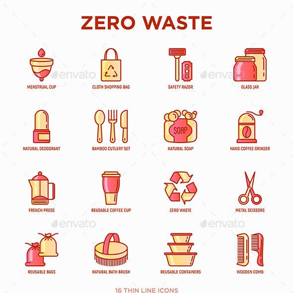 Zero Waste | 16 Thin Line Icons Set