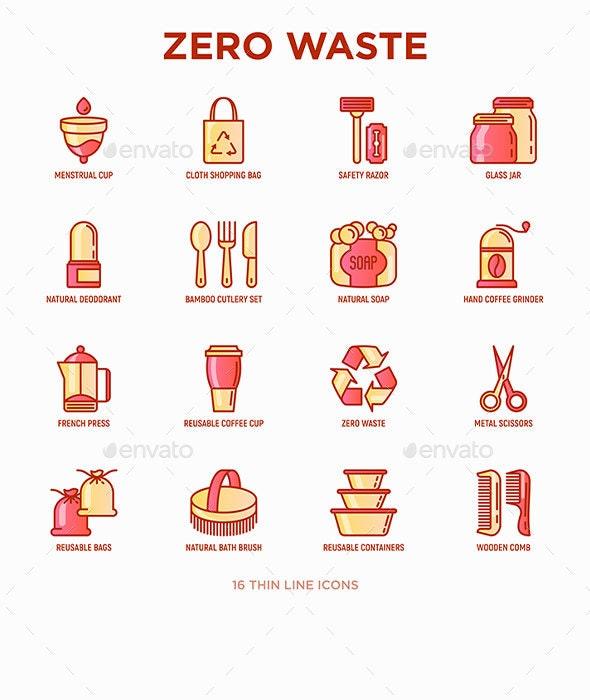 Zero Waste | 16 Thin Line Icons Set - Miscellaneous Icons