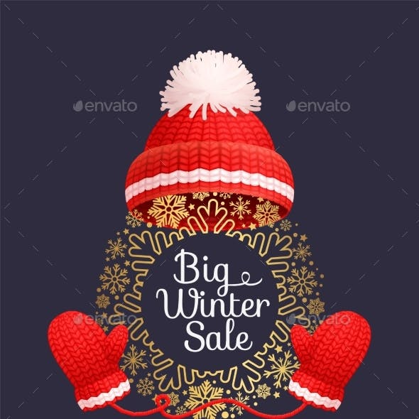 Winter Sale Poster Warm Red Hat Knitted Gloves