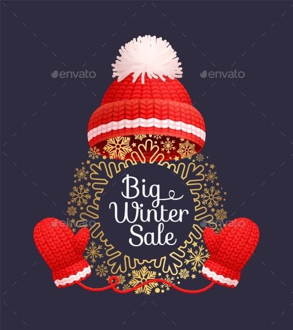 Winter Sale Poster Warm Red Hat Knitted Gloves - Man-made Objects Objects