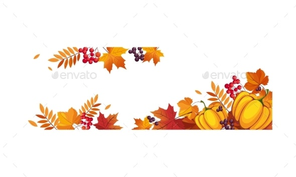 Thanksgiving Banner with Pumpkins - Backgrounds Decorative