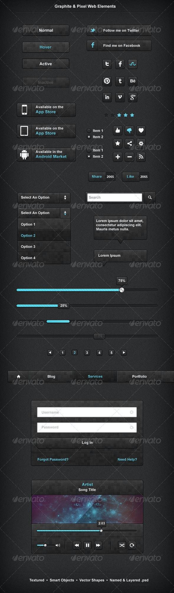Graphite & Pixel Web Elements - Buttons Web Elements