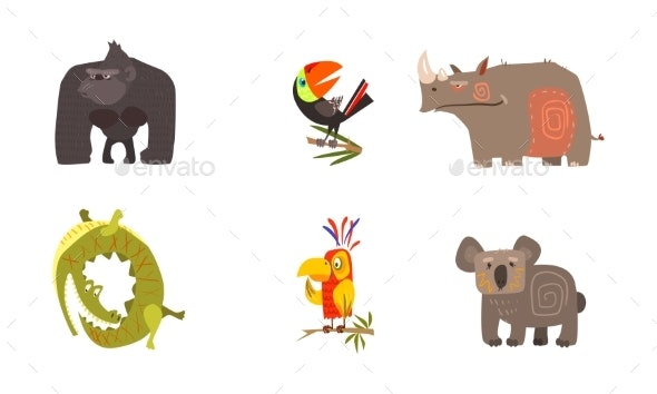 Cartoon African Animals Set - Animals Characters