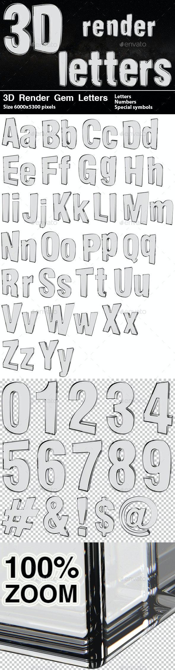 3D Render Gem Letters - Text 3D Renders