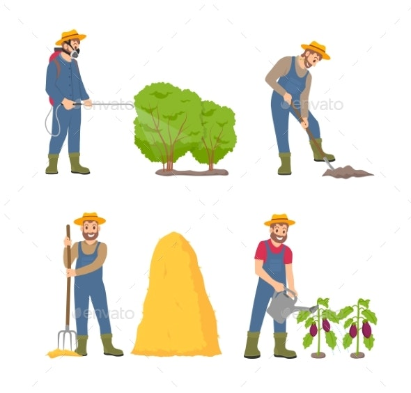 Farming Cultivation and People Vector Illustration - People Characters