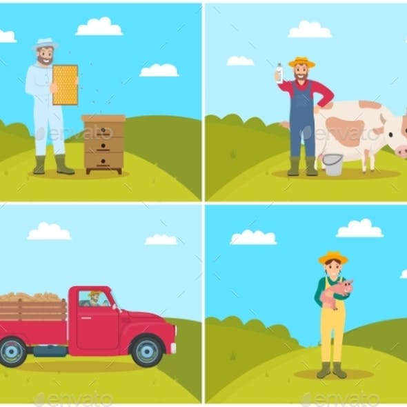 Farmer Set Vector Illustration