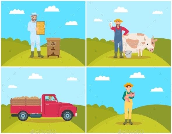 Farmer Set Vector Illustration - Animals Characters