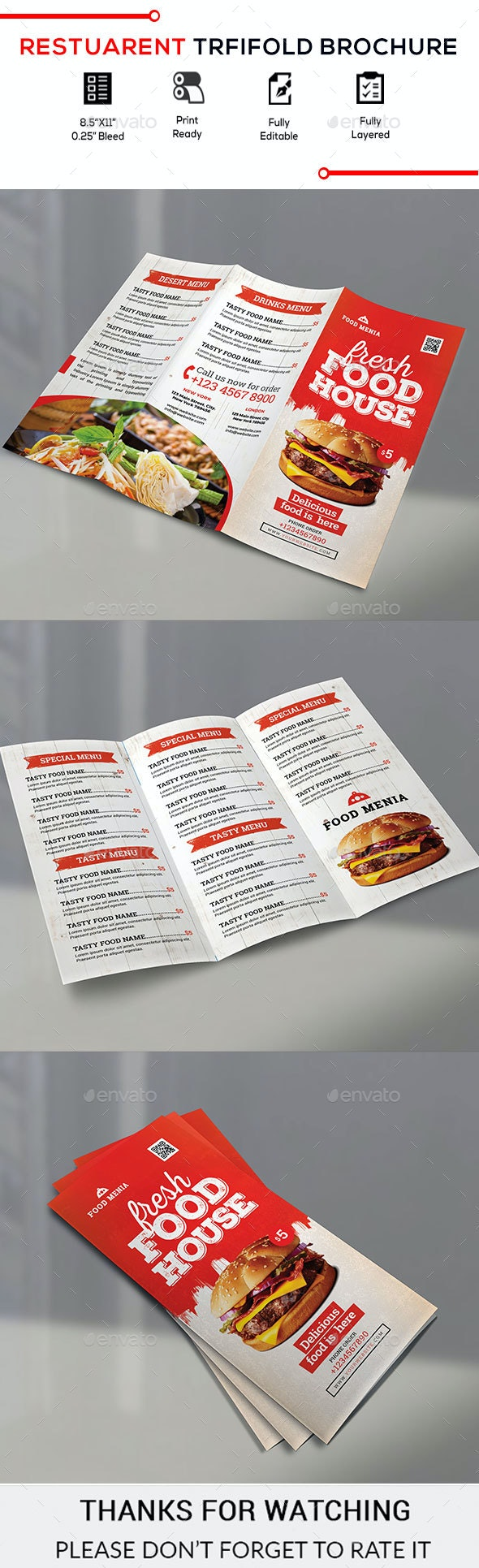 Trifold Food Brochure - Brochures Print Templates