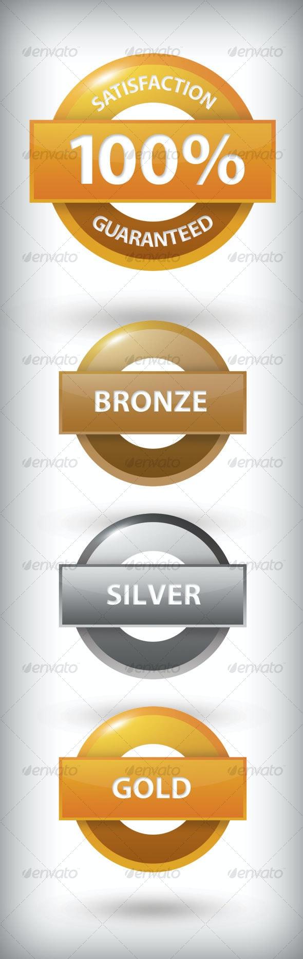 4 Medals: Guaranteed, Bronze, Silver, & Gold - Web Elements