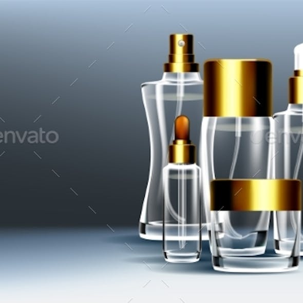 Cosmetic Glass Packaging Vector