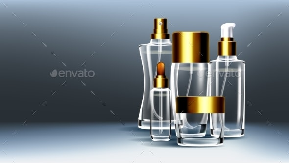 Cosmetic Glass Packaging Vector - Man-made Objects Objects