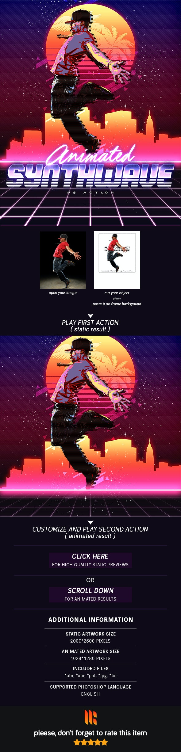 Animated 80's Synthwave Poster - Photoshop Action - Photo Effects Actions