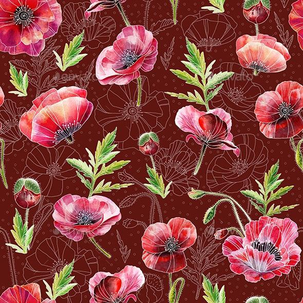 Seamless Pattern Poppies - Patterns Backgrounds