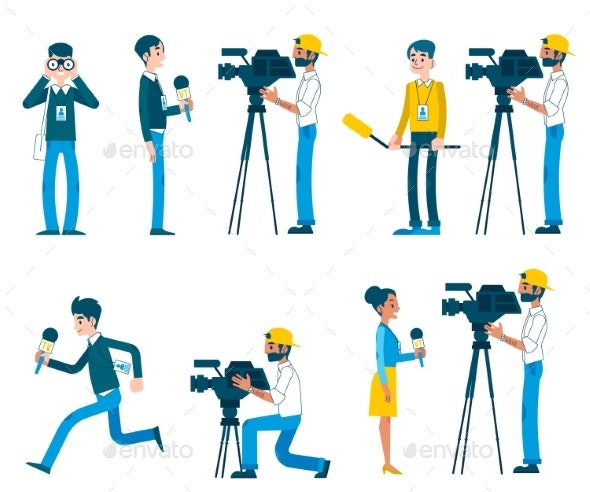 Vector Man Video Reporter Camera Interview - People Characters