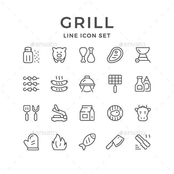 Set Line Icons of Grill - Man-made objects Objects