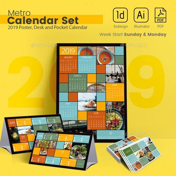2019 Metro Calendar Set