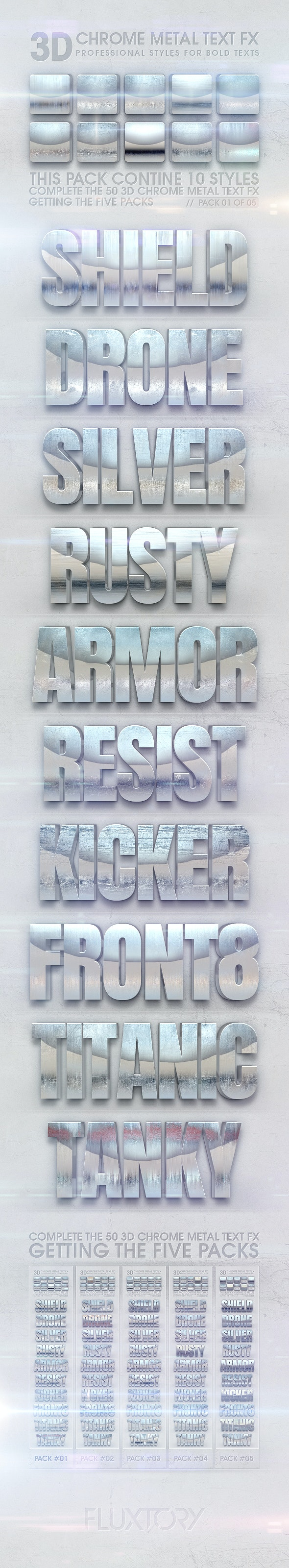3D Chrome Metal Text FX 01 of 05 - Text Effects Styles