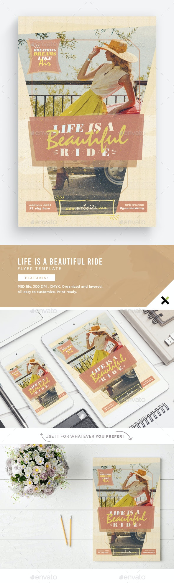 Life Is A Beautiful Ride Flyer Template - Flyers Print Templates