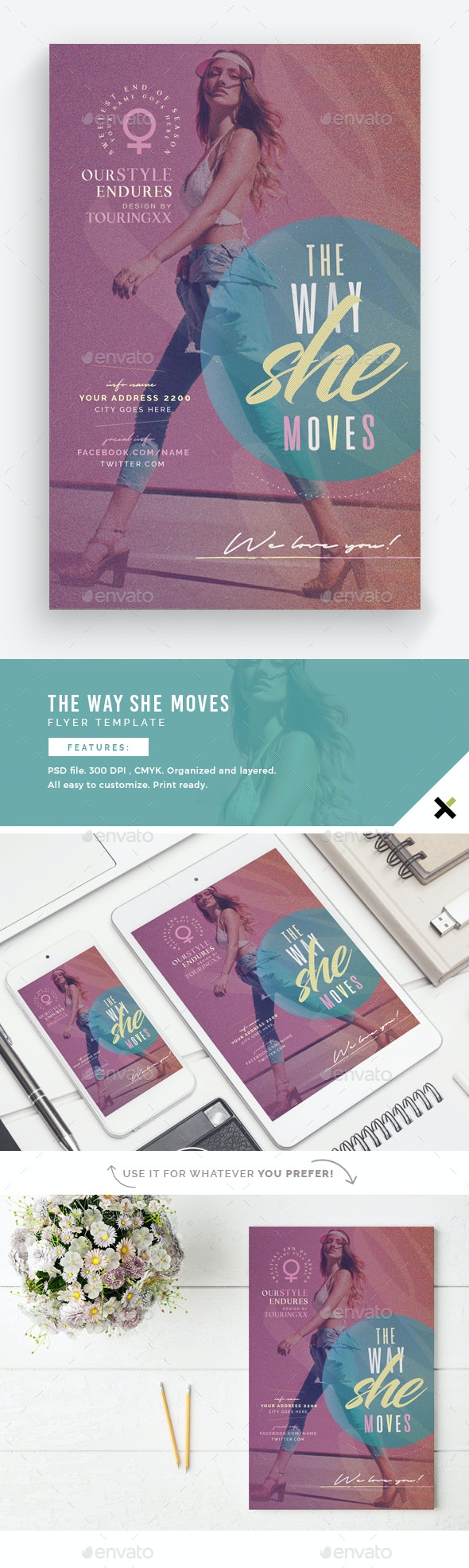 The Way She Moves Flyer Template - Flyers Print Templates