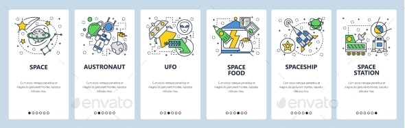 Website Onboarding Screens Outer Space Planets - Web Elements Vectors