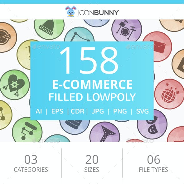 158 E-Commerce Filled Low Poly Icons