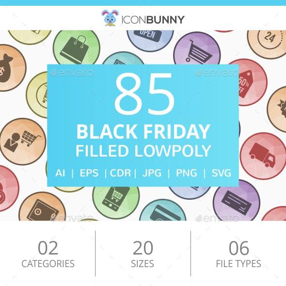 85 Black Friday Filled Round Corner Icons