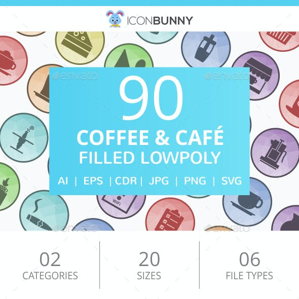 90 Coffee & Cafe Filled Low Poly Icons