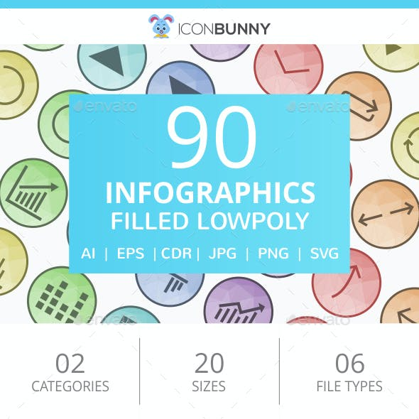 90 Infographics Filled Round Icons
