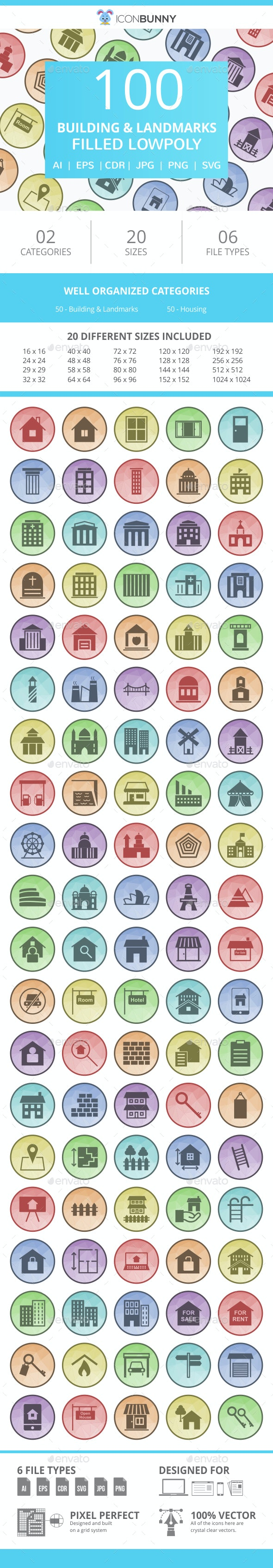 100 Building & Landmarks Filled Low Poly Icons - Icons