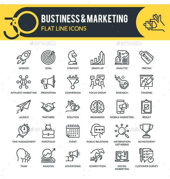 Business & Marketing Outline Icons - Business Icons