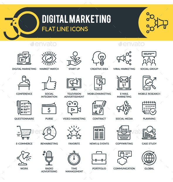 Digital Marketing Outline Icons - Business Icons