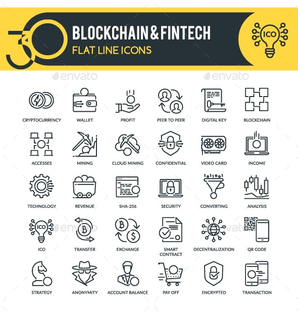 Blockchain & Fintech Outline Icons - Technology Icons